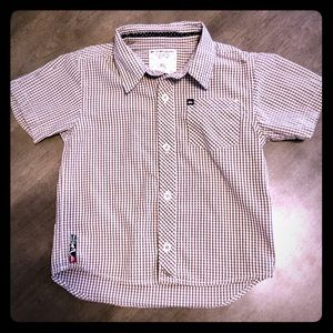 Worn Once!3T Quicksilver Brown & White Button Down